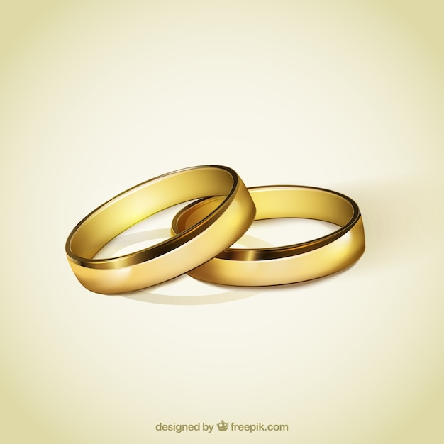 Golden Rings For Wedding Vector Free Download