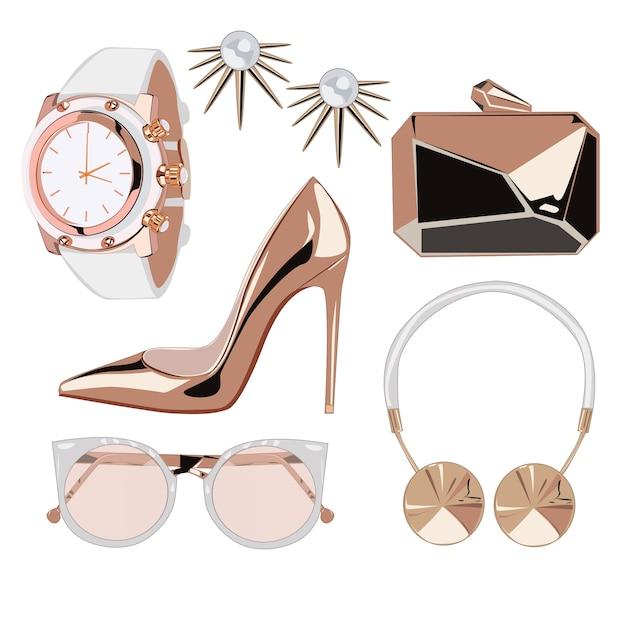 Golden rose fashion accessories Premium Vector