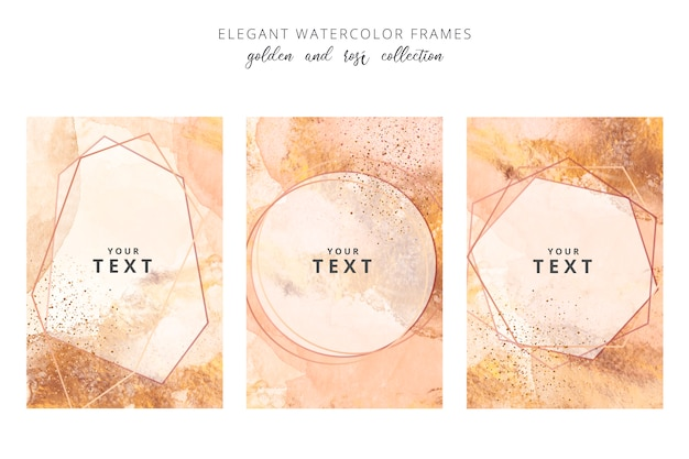 Golden and rose watercolor frames Free Vector