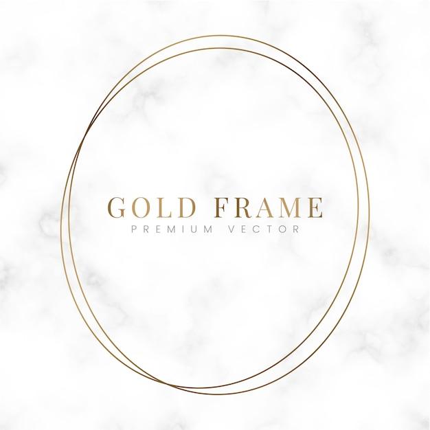 Golden round frame template vector Free Vector