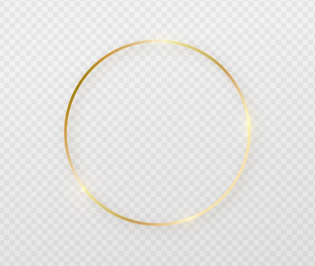 Golden round frame with light effects. Free Vector