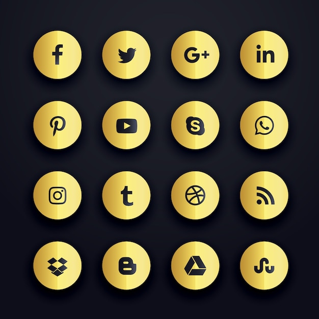 Golden Round Social Media Icons Vector