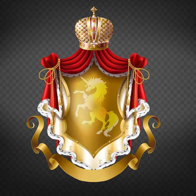 Golden royal coat of arms with crown, shield with unicorn, red mantle with fur fringe Free Vector