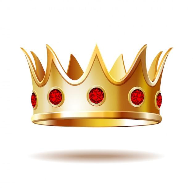 Золотая королевская корона изолированы. Premium векторы