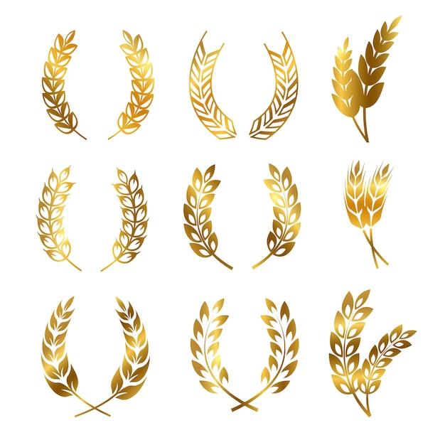 Golden rye wheat ears wreaths set, logo ornament Premium Vector