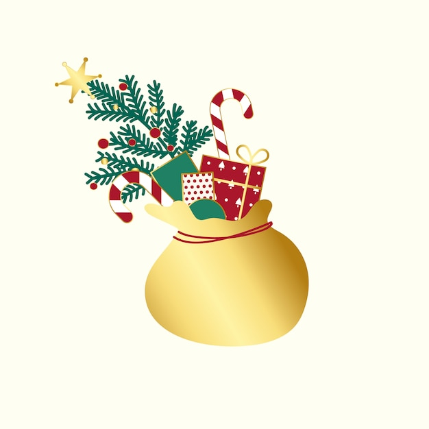 Golden sack with christmas presents vector Free Vector