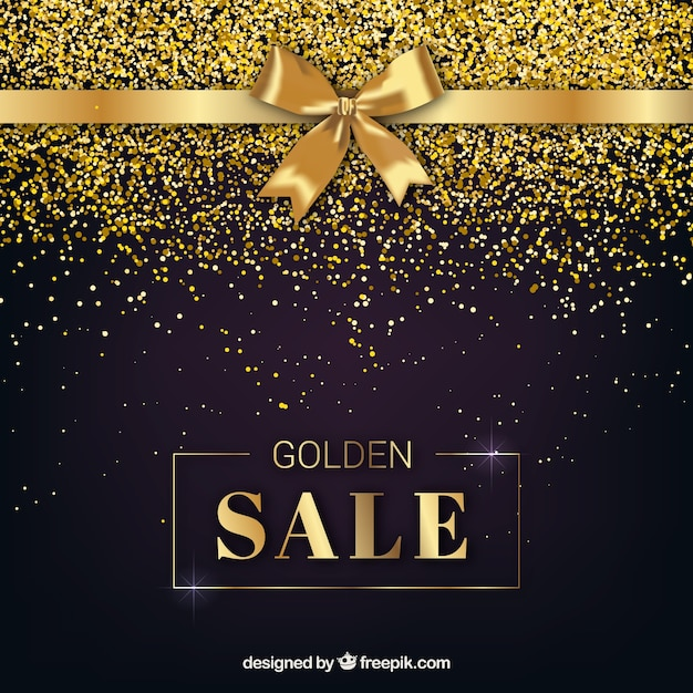 Golden sale background with ribbon Free Vector