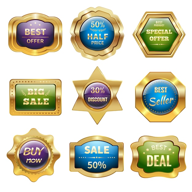 Golden sale badges Free Vector