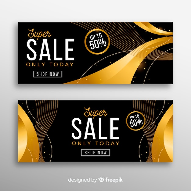Golden sale banner with special discount Free Vector