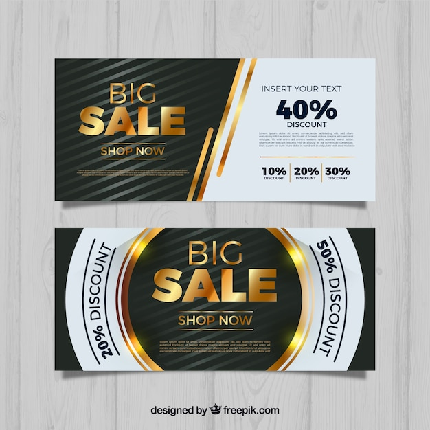 Golden sale banners Free Vector