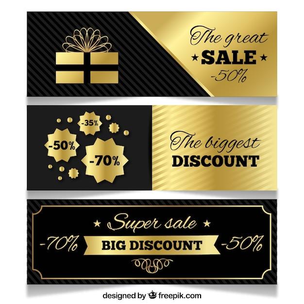 Golden sale banners Free Vector
