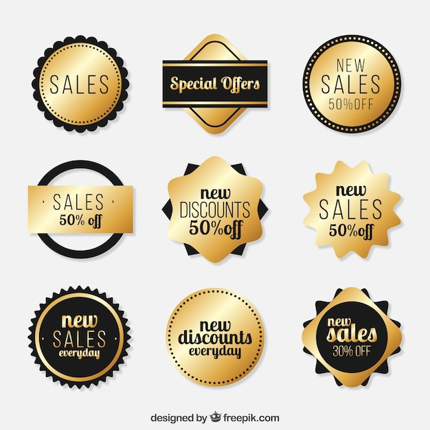 Golden sale label collection Free Vector