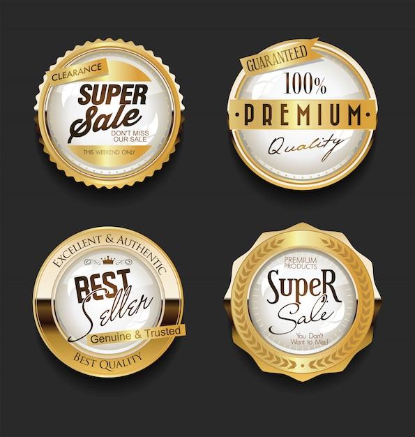 Golden sale labels retro vintage  collection Premium Vector