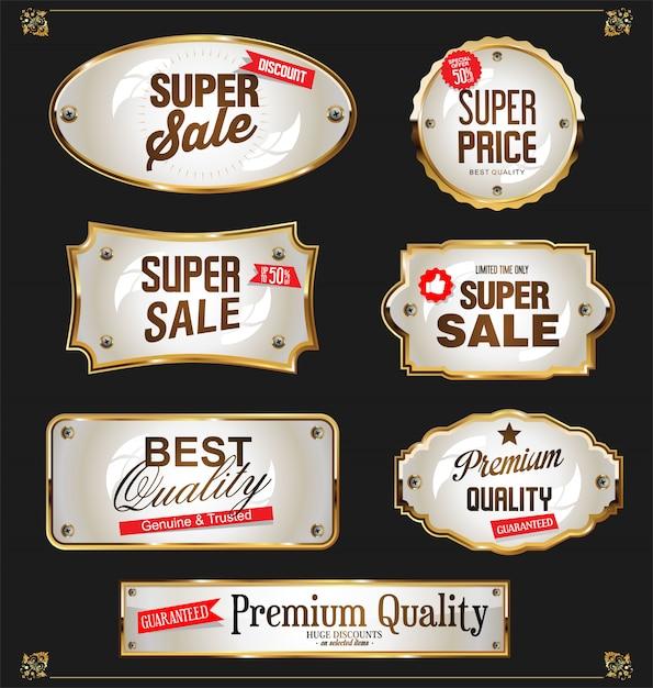 Golden sale labels retro vintage design collection Premium Vector