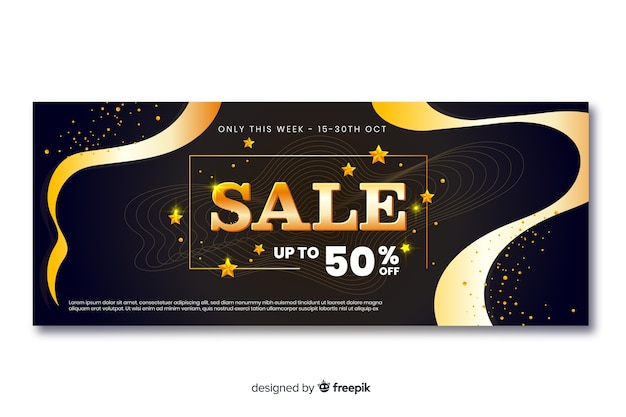 Golden sales banners with wave lines Free Vector