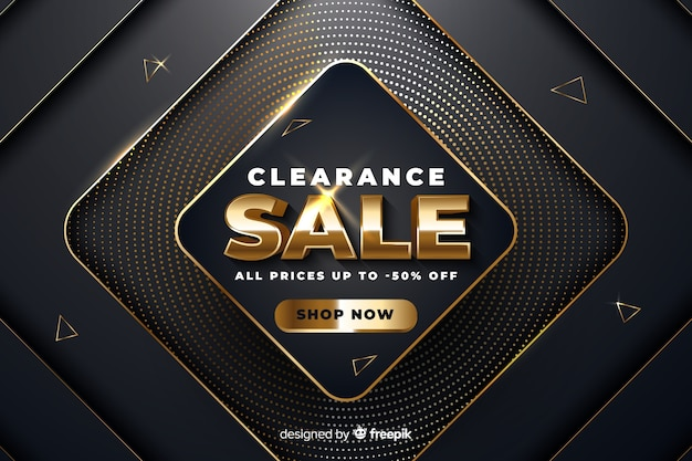 Golden sales  in realistic design Free Vector