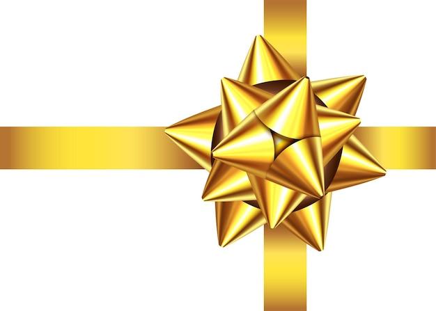 황금 새틴 선물 리본 및 활 흰색 배경에 고립. 프리미엄 벡터