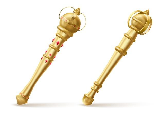 キングまたはクイーンの黄金の笏、赤い宝石のイラストが描かれた王室の杖 無料ベクター