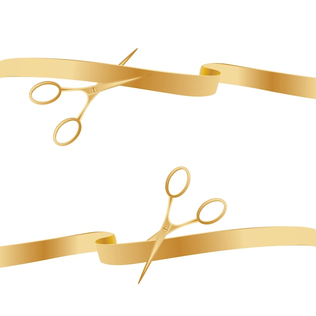 Golden scissors cutting ceremony ribbons. Premium Vector