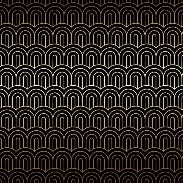 중국 파도, 아트 데코 패턴으로 황금 완벽 한 배경 프리미엄 벡터