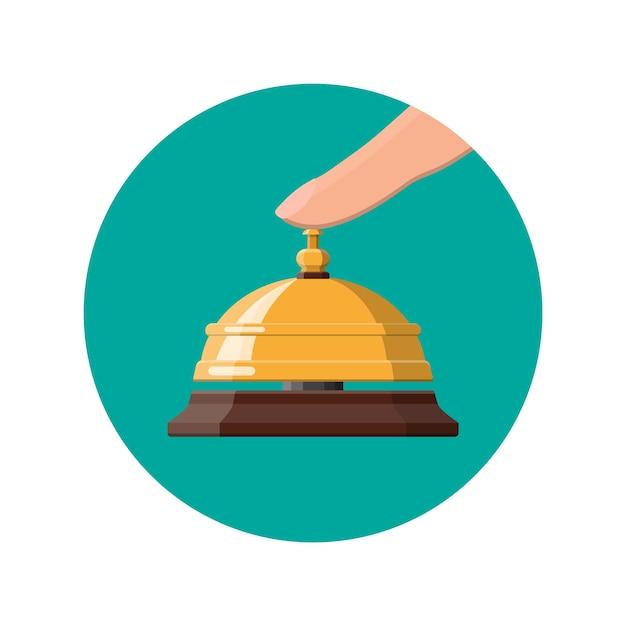 ゴールデンサービスベルとハンド。ヘルプ、アラーム、サポートのコンセプト。ホテル、病院、レセプション、ロビー、コンシェルジュ。 Premiumベクター