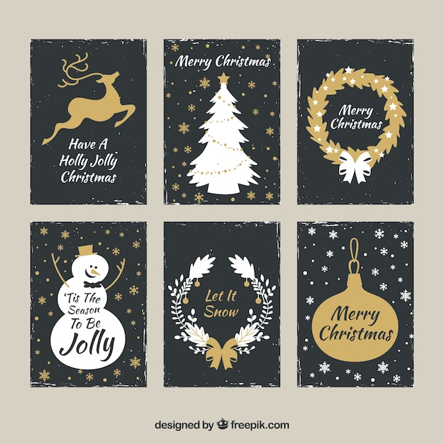 Golden set of christmas cards Free Vector
