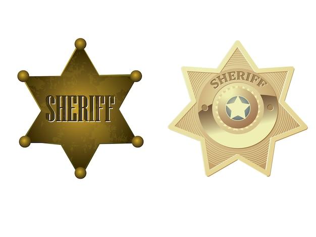 Значок золотого шерифа Premium векторы