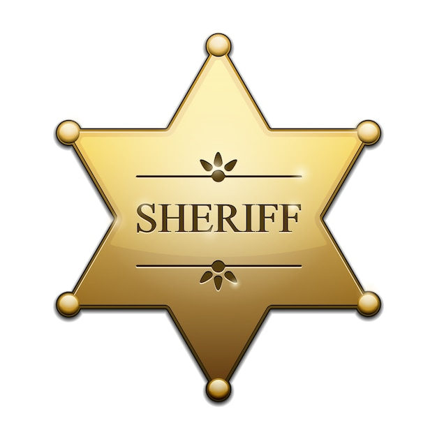 Golden sheriff star isolated Free Vector
