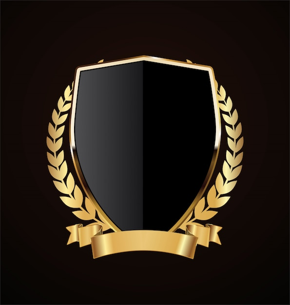 Golden shield retro design Premium Vector