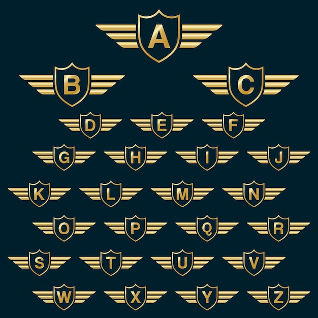 Golden Shield Wins With Capital Alphabet Letters Logo Icon