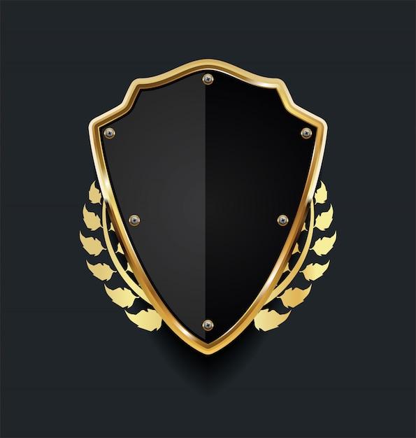 Golden shield with golden laurel wreath Premium Vector