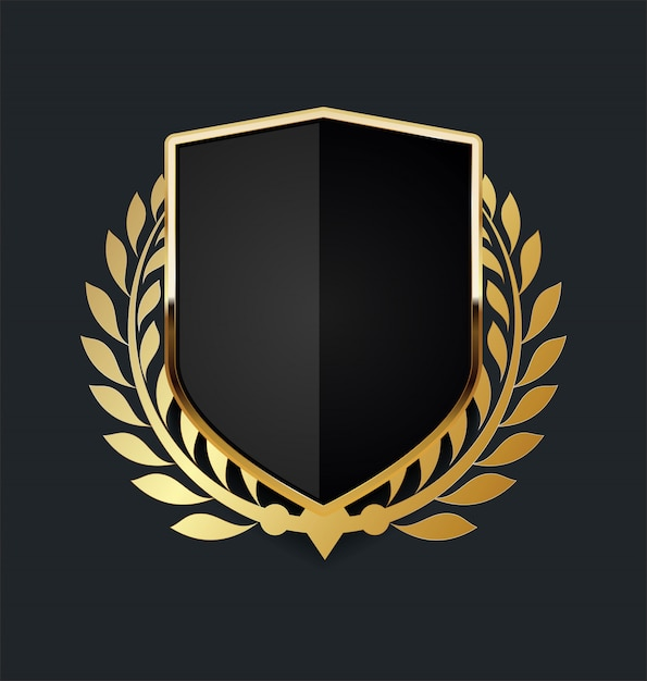 Golden shield with golden laurel wreath Premium Vector