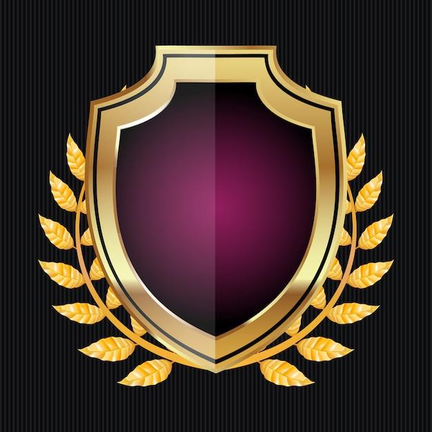 Golden shield with laurel wreath Premium Vector