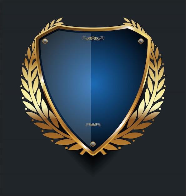 Golden shield Premium Vector