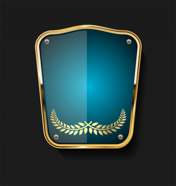 Golden shield Premium Vector