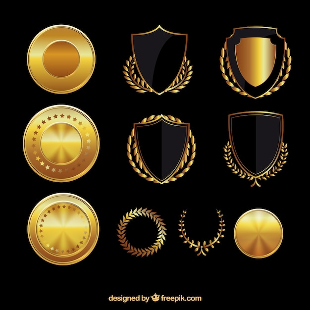 Golden shields and medals Free Vector