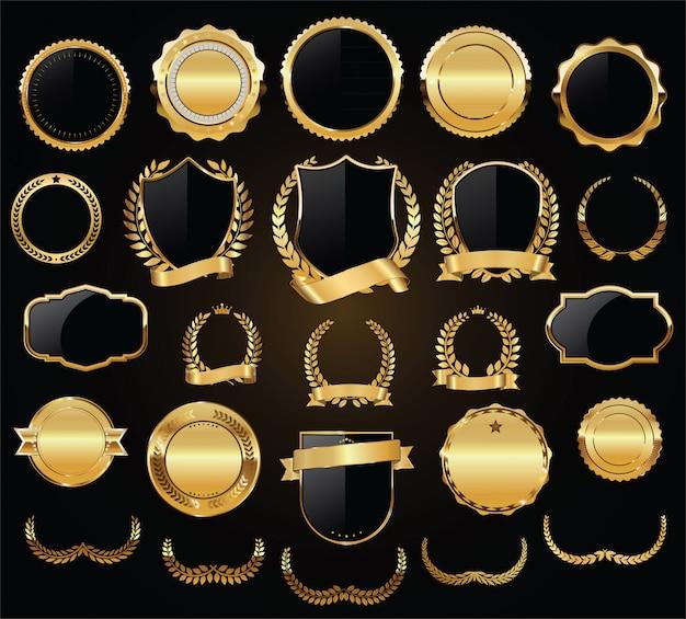 Golden shields laurel wreaths and badges vector collection Premium Vector