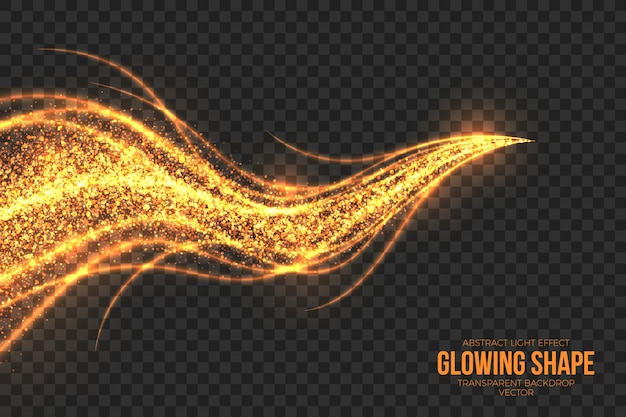 Golden shimmer glowing shape background Premium Vector