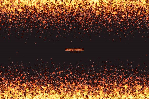 Golden shimmer glowing triangular particles abstract vector background Premium Vector