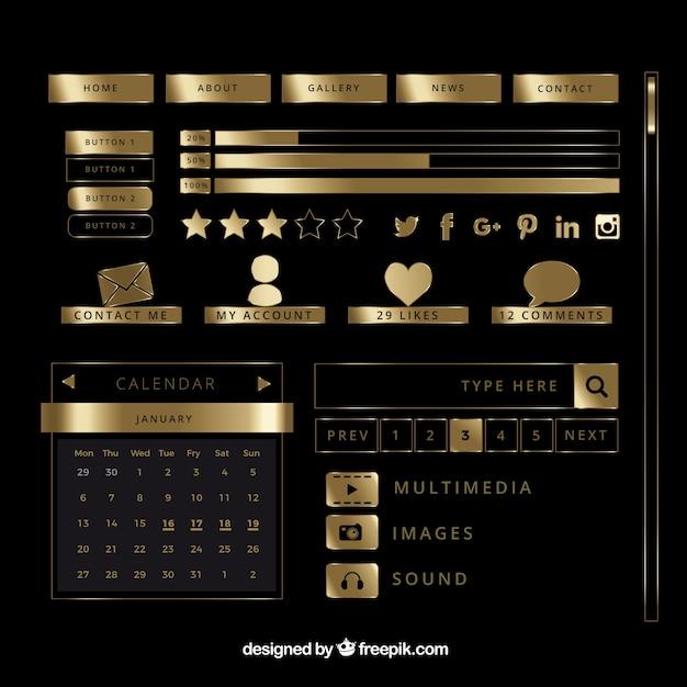 طلایی عناصر وبلاگ براق مجموعه