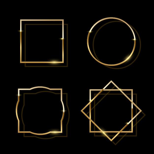 Golden shiny frames isolated on black background, golden luxury realistic border set. Premium Vector