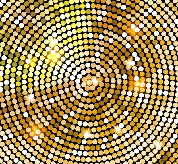 Golden shiny mosaic in disco ball style.  gold disco lights background. abstract background Premium Vector