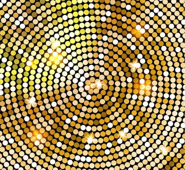 Золотая блестящая мозаика в стиле диско-шар. золотые огни диско фон. абстрактный фон Premium векторы