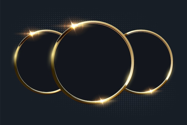 Golden shiny rings with copyspace on dark background. Premium Vector
