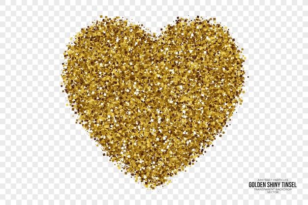 Golden shiny tinsel abstract vector heart Premium Vector
