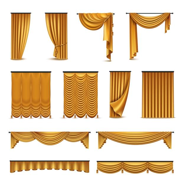 Золотые шелковые бархатные роскошные шторы Бесплатные векторы