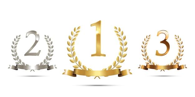 リボンと1位、2位、3位のサインが付いたゴールデン、シルバー、ブロンズの月桂樹の花輪。 Premiumベクター