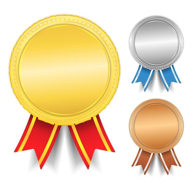 황금,은, 동메달, 프리미엄 벡터