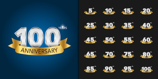 Golden and silver anniversary celebration logotype set. Premium Vector