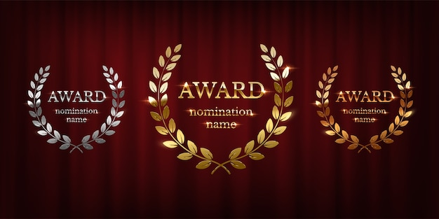 Golden, silver and bronze award signs with laurel wreath  on red curtain background Premium Vector